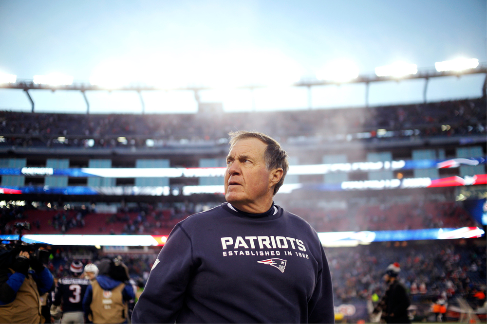 New England Patriot head coach Bill Belichick heads off the field after the Patriots defeated the Tennessee Titans 33-16 at Gillette Stadium in Foxborough, Massachusetts on December 20, 2015.