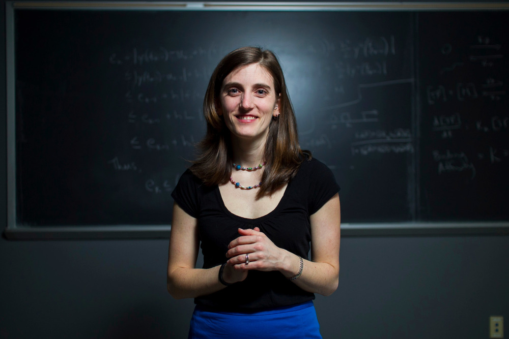 Clark University Math Professor Jackie Dresch poses for a photo in a computer lab on the campus of Clark University in Worcester, Massachusetts on January 27, 2016.
