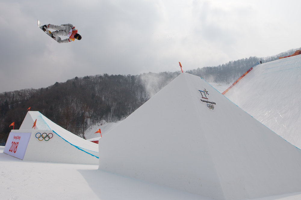 United States snowboarder Kyle Mack takes a practice run before the second heat of the men's slopestyle event on day one of the 2018 Pyeongchang Winter Olympics at Phoenix Snow Park in Pyeongchang, South Korea, on February 10, 2018.  Photo by Matthew Healey/UPI