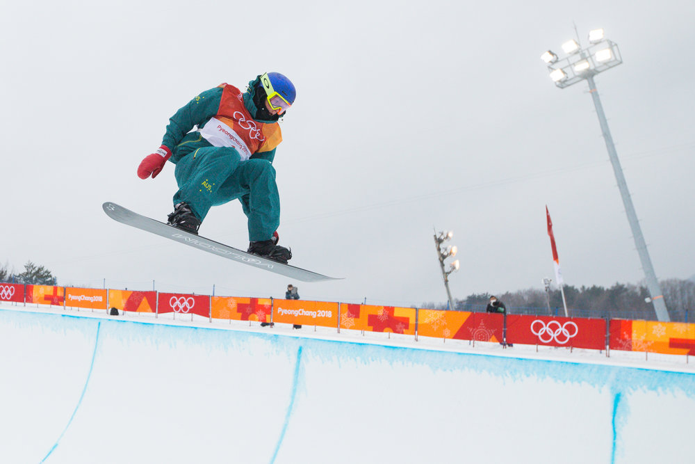 Australia's Scotty James competes in the Men's Halfpipe finals at the 2018 Pyeongchang Winter Olympics at Phoenix Snow Park in Pyeongchang, South Korea, on February 14, 2018. James took bronze in the event with a best score of 95.25. Photo by Matthew Healey/UPI