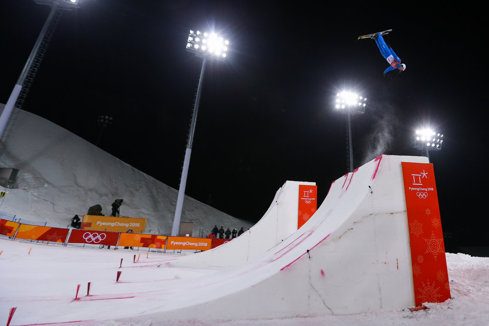 Madison Olsen of the United States competes in the Ladies' Freestyle Skiing Aerials final at Phoenix Snow Park in Pyeongchang, South Korea on February 16, 2018.  Photo by Matthew Healey/UPI