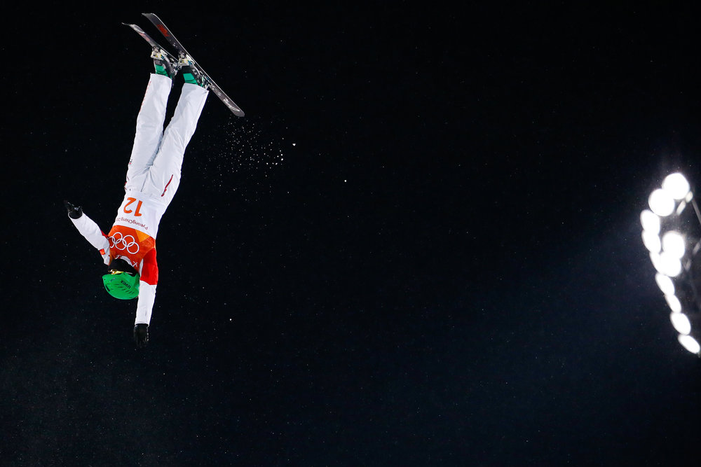 Hanna Huskova of Belarus competes in the Ladies' Freestyle Skiing Aerials final at Phoenix Snow Park in Pyeongchang, South Korea on February 16, 2018. Huskova took gold in the event with a score of 96.14. Photo by Matthew Healey/UPI
