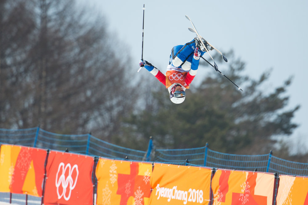 Marie Martinod of France competes in the Freestyle Skiing Ladies' Halfpipe final at Phoenix Snow Park in Pyeongchang, South Korea on February 20, 2018. Martinod took silver in the event with a best score of 92.60. Photo by Matthew Healey/UPI