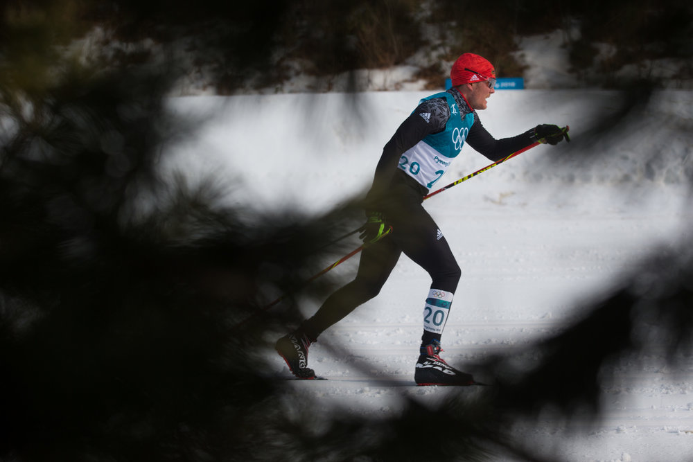 Lucas Boegl of Germany competes in the Men's 50K Mass Start Classic during the 2018 Pyeongchang Olympics at the Alpensia Cross-Country Skiing Centre in Pyeongchang, South Korea on February 24, 2018. Photo by Matthew Healey/UPI