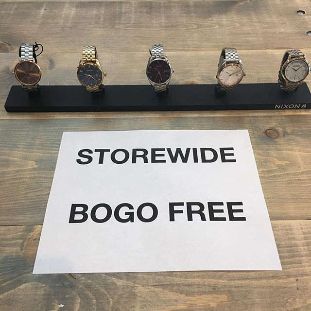 Nixon watches included in the BOGO free sale! Still happening today till 5pm!
