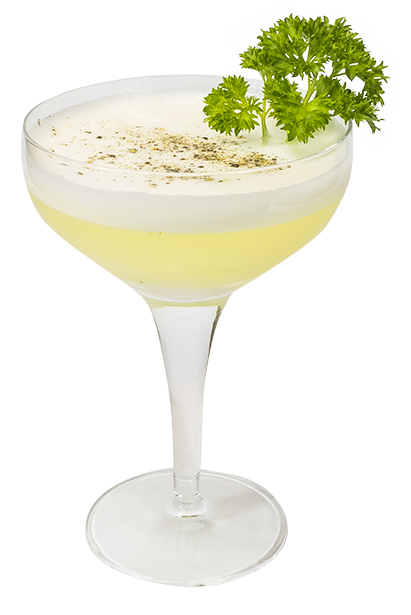 50ml Cucumber & Parsley Gin 20ml Lemon juice 12.5ml Sugar syrup 25ml Egg white Celery Bitters - 2 dashes