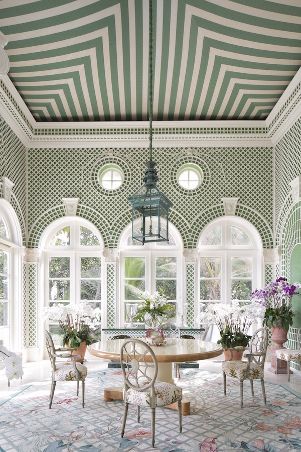 Continuing with indoor/outdoor living at the Kramer mansion with this Elsie de Wolfe inspired trellis room with Palladian style doors leading to the ocean