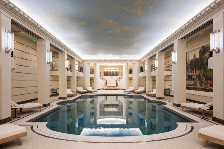 The world's first Chanel spa,Chanel au Ritz Paris - the ornate night sky painted on the ceiling is an inspired decorative classical detail in an otherwise very contemporary space