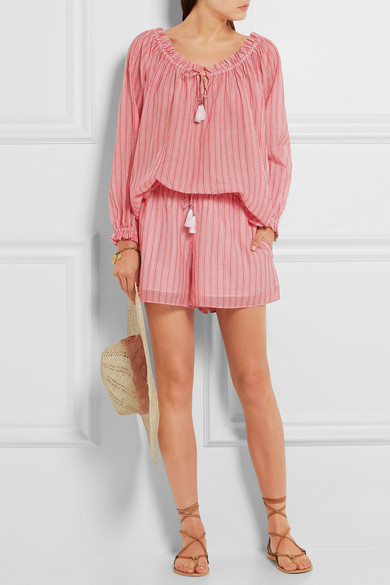 Zimmermann voile striped blouse & shorts