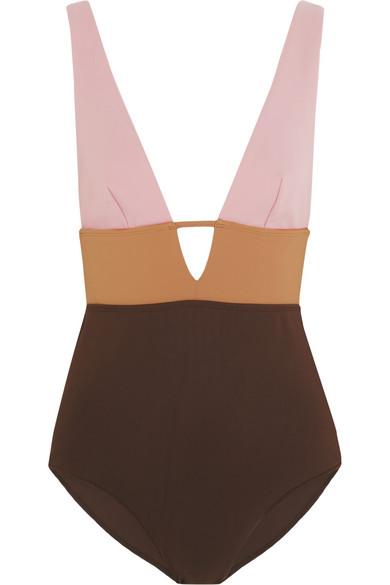 Chrome color-block swimsuit