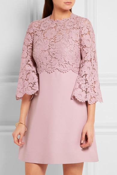 Valentino lace embellished bell sleeve dress