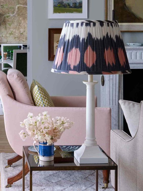 Interior Design - Classic Fabric Lampshades - Doreen Chambers Interiors New York