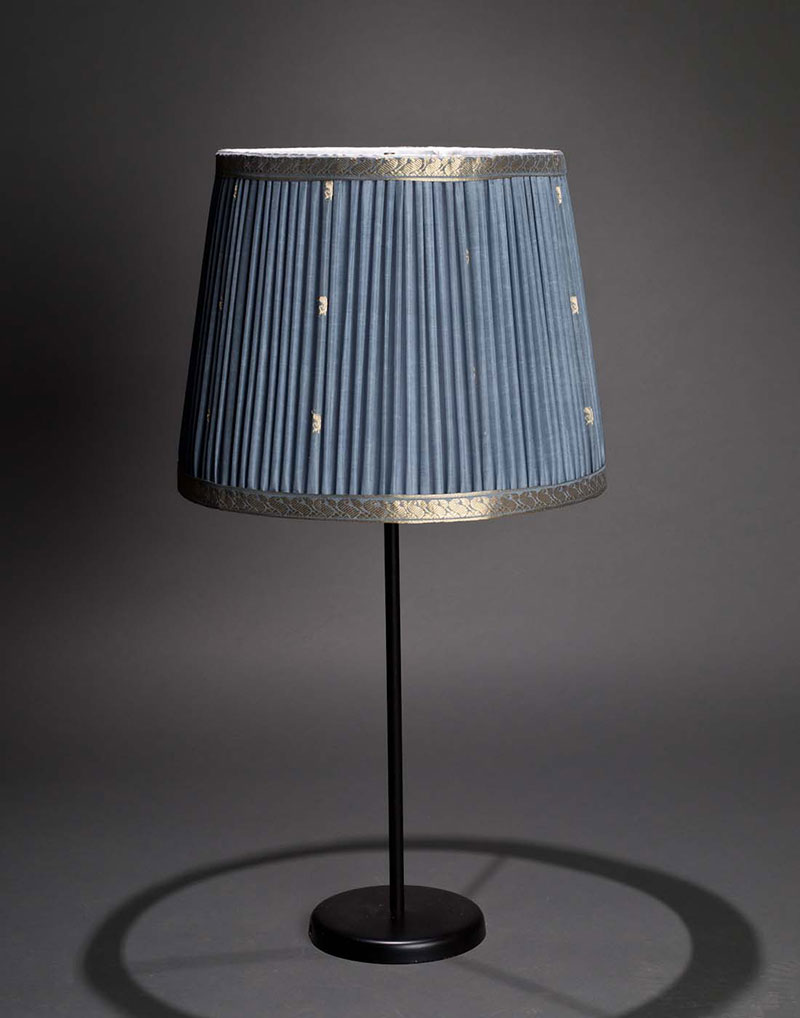Silk pleated shade with classical metallic scroll motif ribbon trim from Illumé