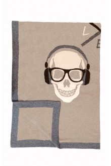 Elegant touch of whimsy with Skull cashmere knit throw by Rani Arabella