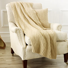 Cabled cashmere throw blanket by Ralph Lauren