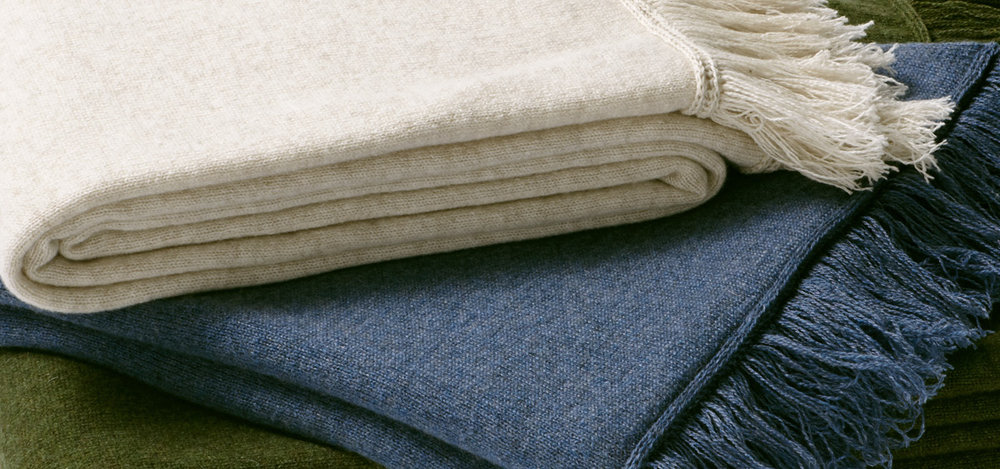 The ultimate in luxury are the custom-made cashmere throws by E Braun & Co.