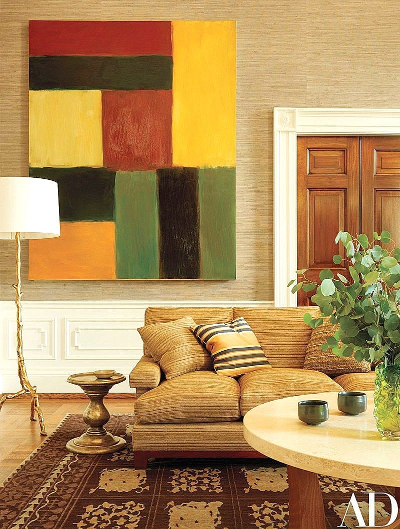 Love this painting by Sean Scully - the pops of color coordinate fabulously well with the fabrics and rug...the lamp and side table are like pieces of sculpture too