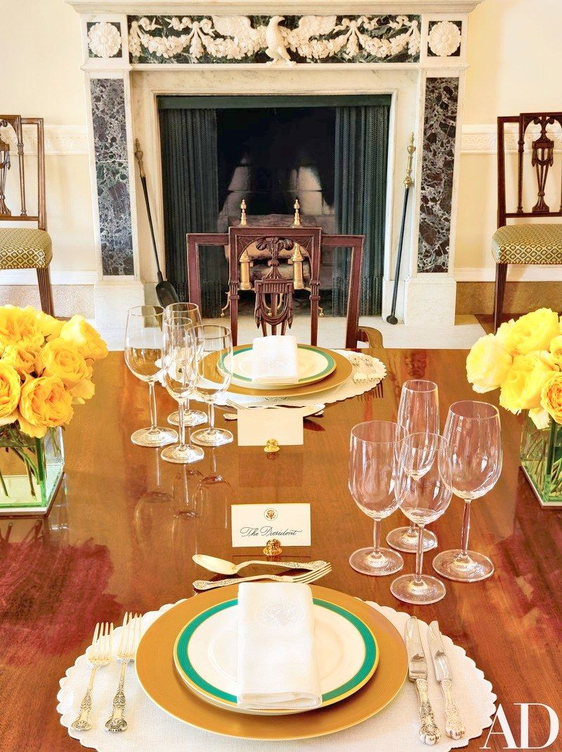 The President's place setting for luncheon using the classically designed Obama State China Service chosen by Michelle Obama in collaboration with Michael Smith and William Allman, the White House Curator