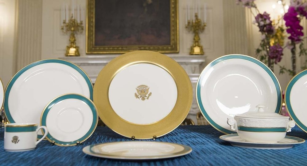 Although classical in design the Obama china service has embraced the more contemporary influence of a mix-and-match 11-piece place settings...made by Pickard China of Antioch, Illinois, the First Lady's home state