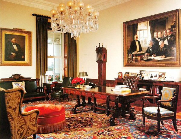 Former President Bush's Treaty Room - the desk which has been in the White House since 1869 and artwork remained in President Obama's Treaty Room