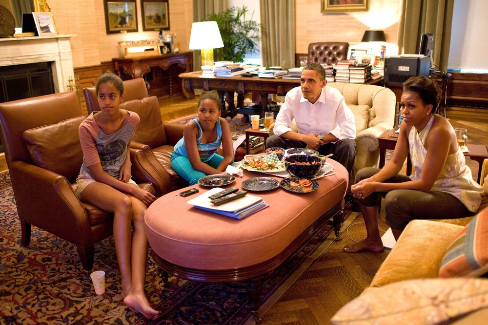President Obama's Treaty Room doubles as his night office and a family room - I'm certainly gonna miss this family!