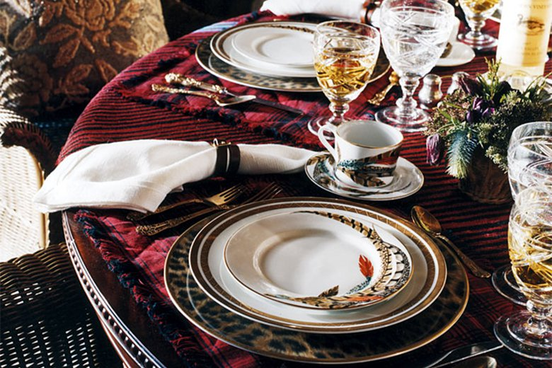 An eclectic combination of mix and match patterns from Ralph Lauren Home - not sure how practical a velvet tablecloth is but I'm loving the look...