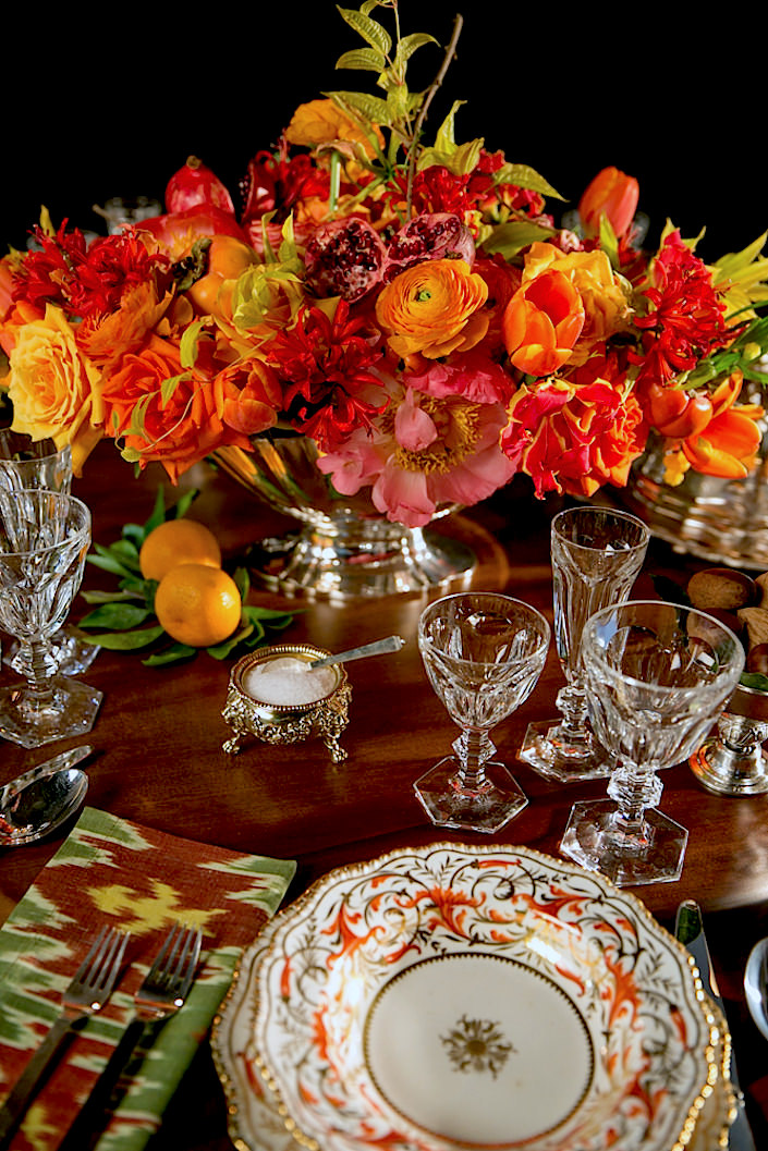 Designer Alex Papachristidis collaborates with Stacy Bewkes of Quintessence blog on a spectacular Thanksgiving Holiday Table using lots from the upcoming Christies Living with Art sale of fine and decorative arts - Coalport china mixed with Baccarat crystal stemware and florals from my favorite florist Zeze