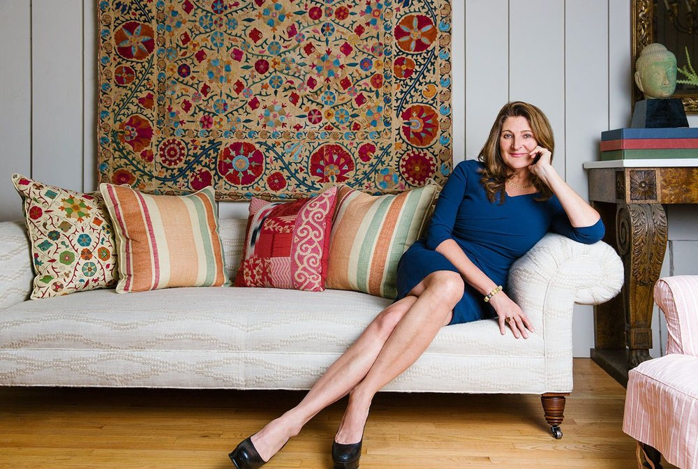 Kathryn Ireland   relaxes surrounded by some of her favorite signature fabrics