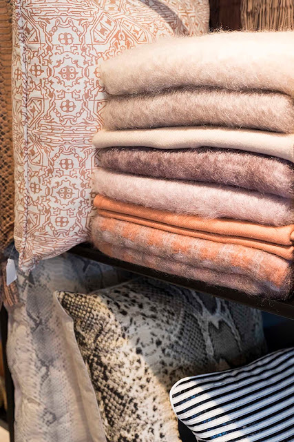 Fortuny pillows and EZ Caray mohair throws