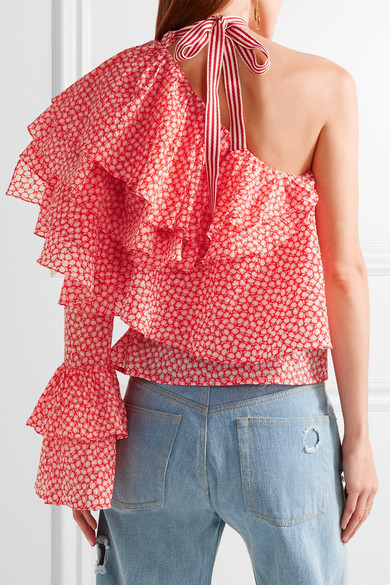 Rosie Assoulin ruffled printed cotton blouse - if you like like a lot of detail