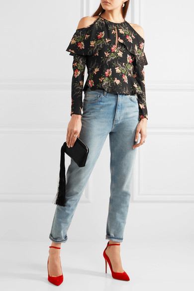 Vilshenko cold shoulder floral silk top