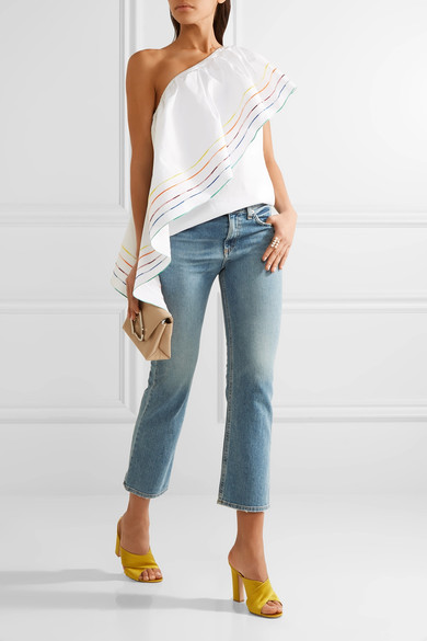 Rosie Assoulin wedge ruffled cotton one shoulder top