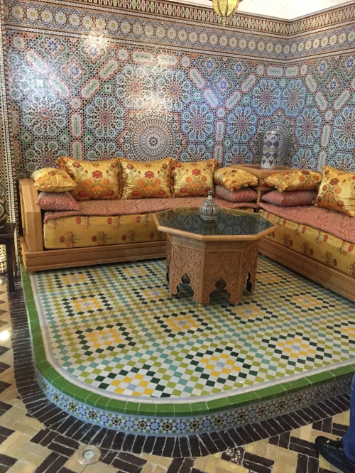 The Art Naji Ceramics reception area perfectly captures samples of the exquisite classic patterns for which they're famous throughout Morocco