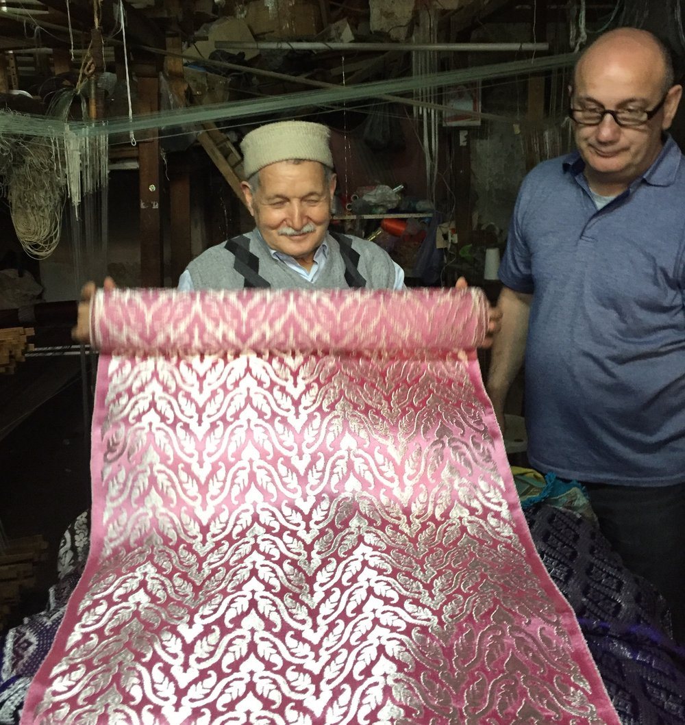 This gentleman has been weaving these astonishing textiles with handlooms that are over a century old exclusively for top fashion houses in Paris and London...it was actually the workshop's day off and he came in just to show us his work.  So glad he did...