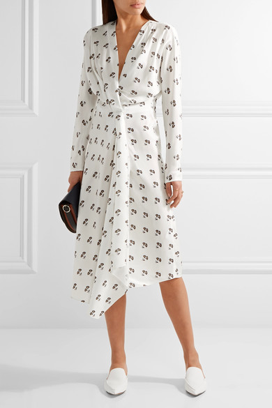 Asymmetric wrap effect silk print dress - Victoria Beckham