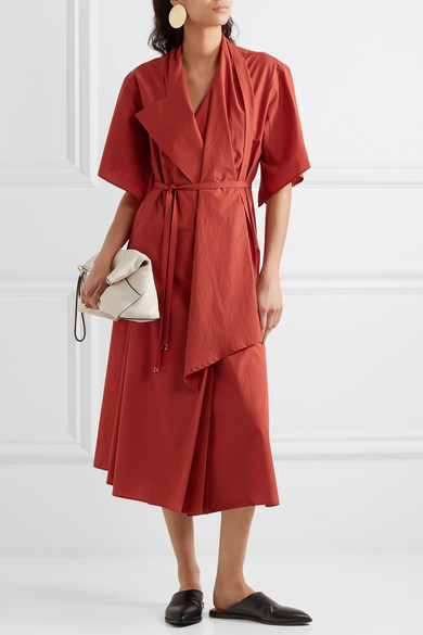 Cotton poplin wrap dress -Lemaire