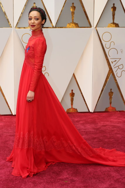 Ruth Negga at the Academy Awards this year ahead of the curve in full-on long sleeves high neckline sweeping gown - she was certainly noticed!  New York Times