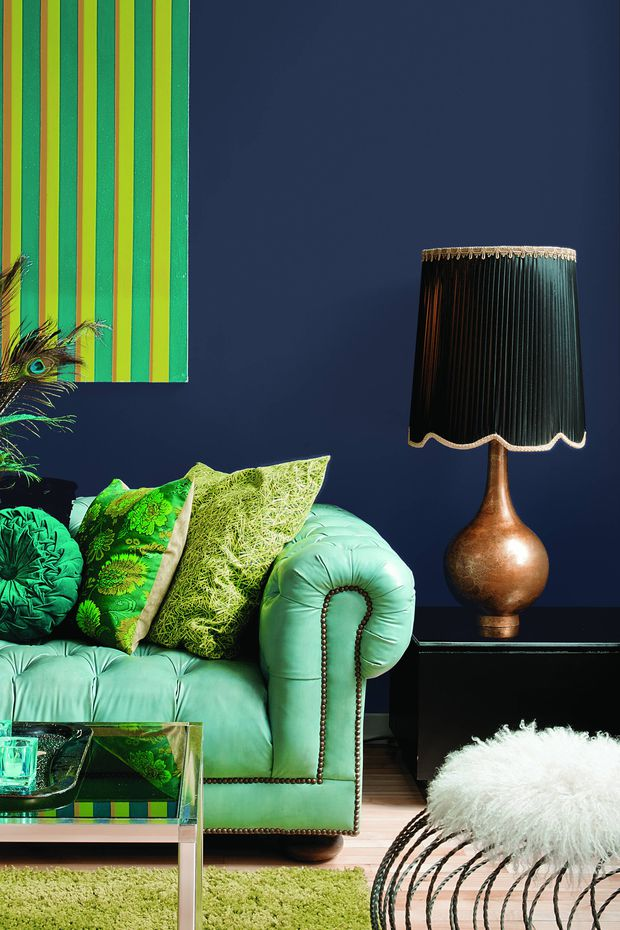 This undated photo provided by PPG shows their colour Black Flame on the wall and was named 2018 Colour of the Year by PPG Paints. A statement-making black, infused with the undertone of the deepest navy, which evokes the privacy, hope and classic modernism that many consumers crave today.   Mail&Globe,com