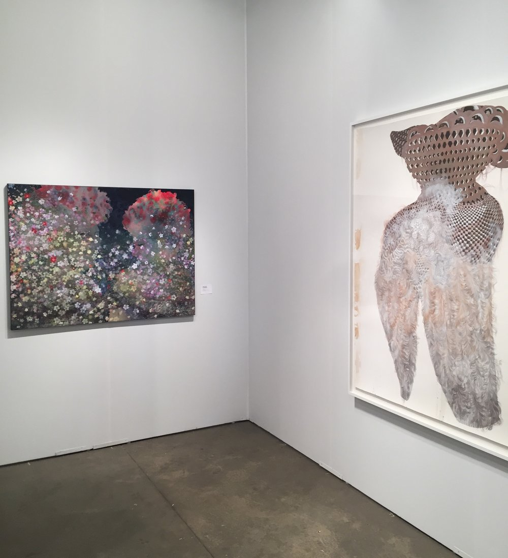 Firelei Baez anchors both walls with a pair of wondrous works at the Gallery Wendi Norris Booth