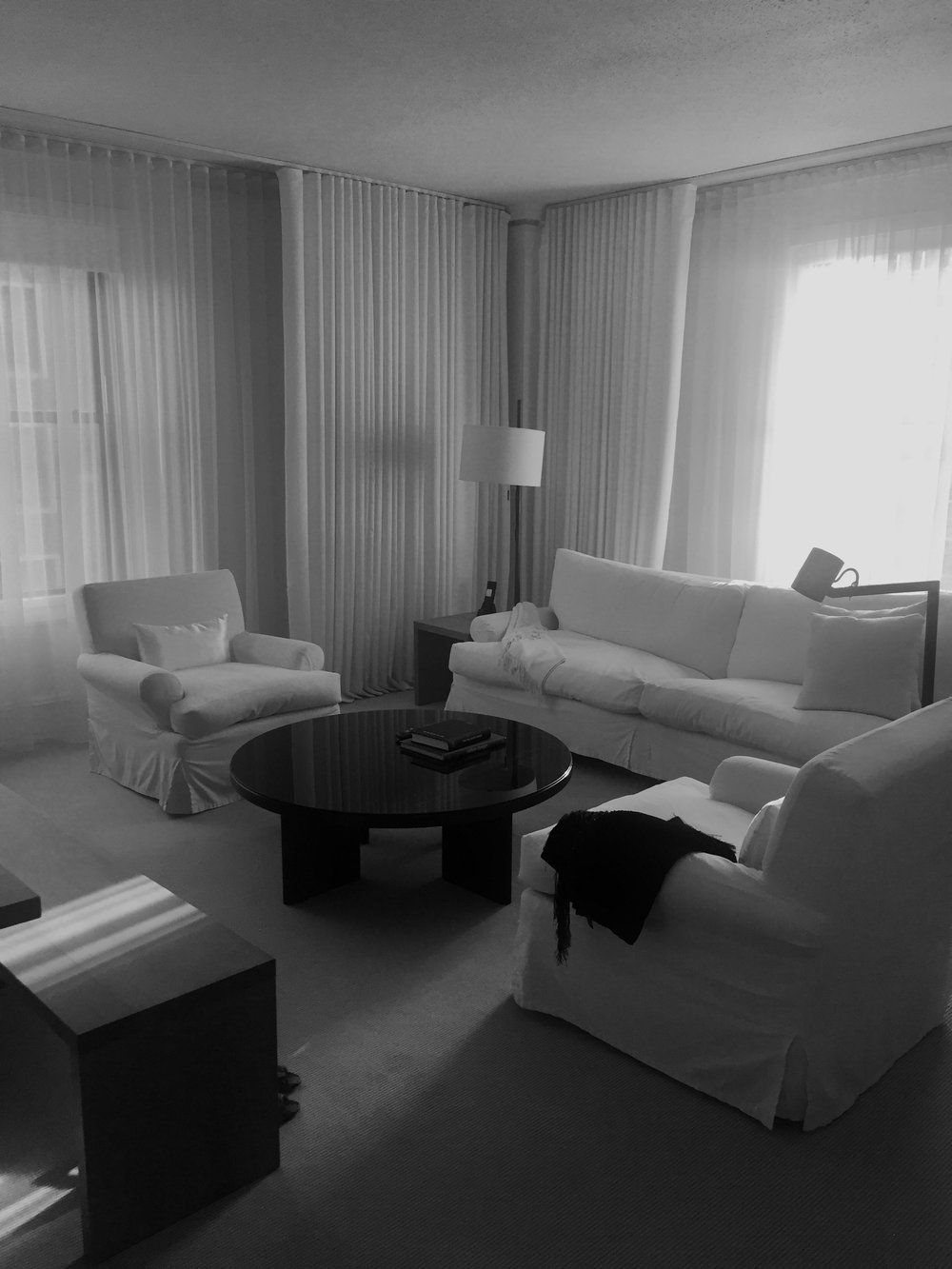 The living area of our suite at the the Ambassador - the design vibe is very Christian Liaigre