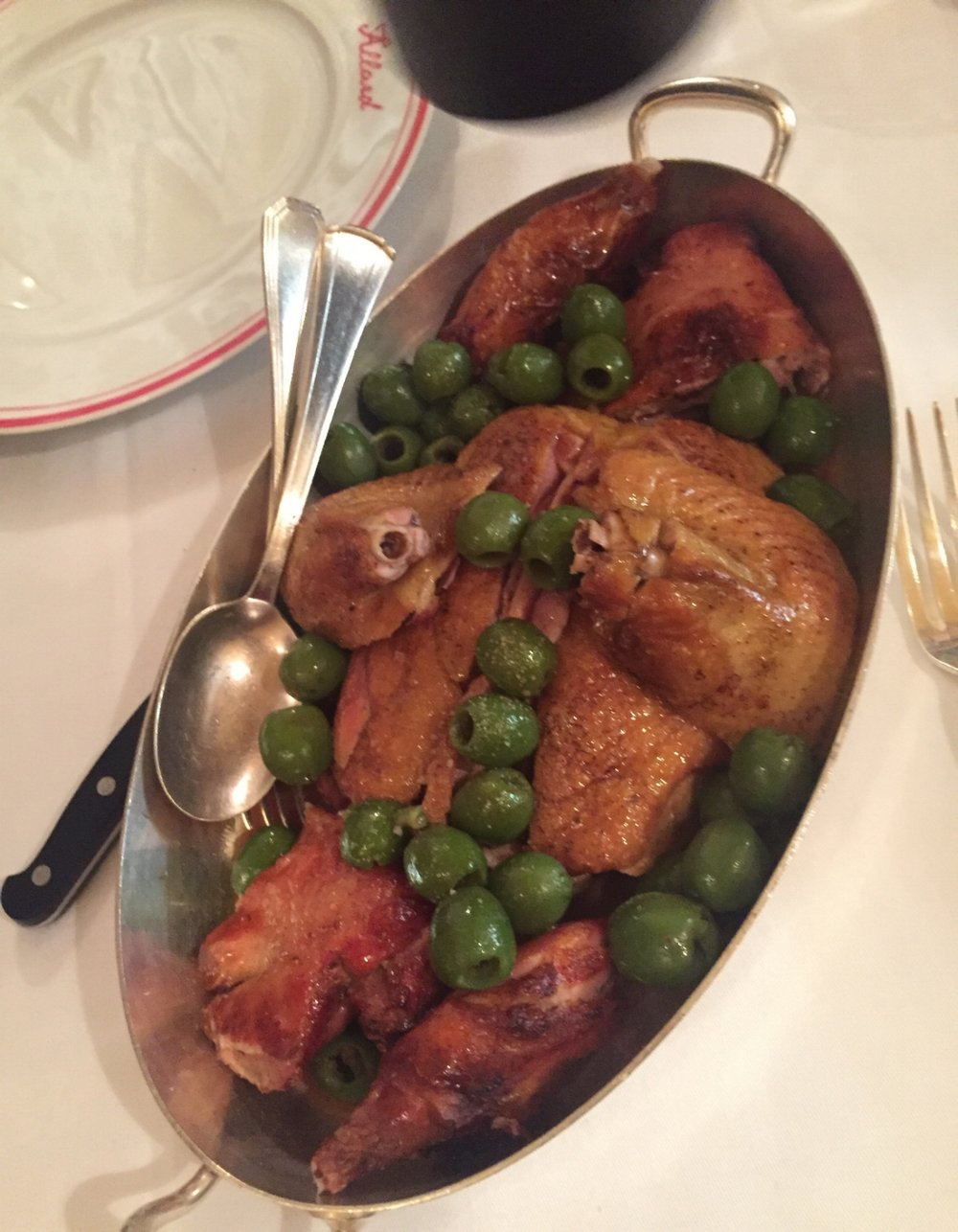 Restaurant Allard's signature dish is challans duck with green olives