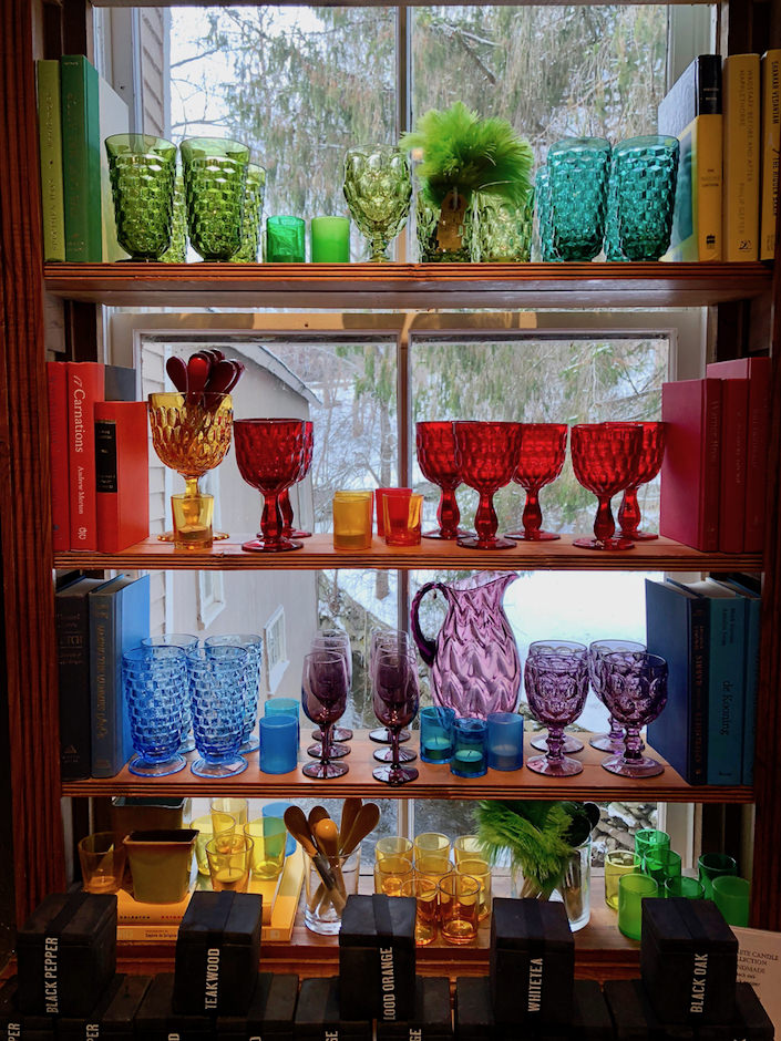 What an artful rainbow display of glass-ware to enjoy during the holidays and year-round