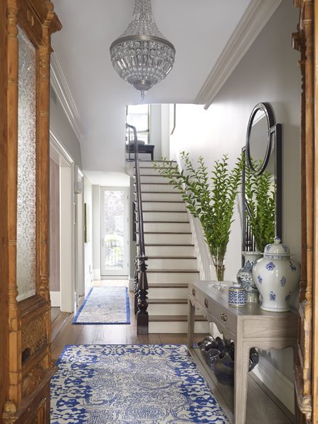 Townhouse Cobble Hill, Brooklyn  - if you're fortunate to live in a spacious brownstone or townhouse you have endless options to create a super sophisticated  entry...Design by Doreen Chambers Interiors