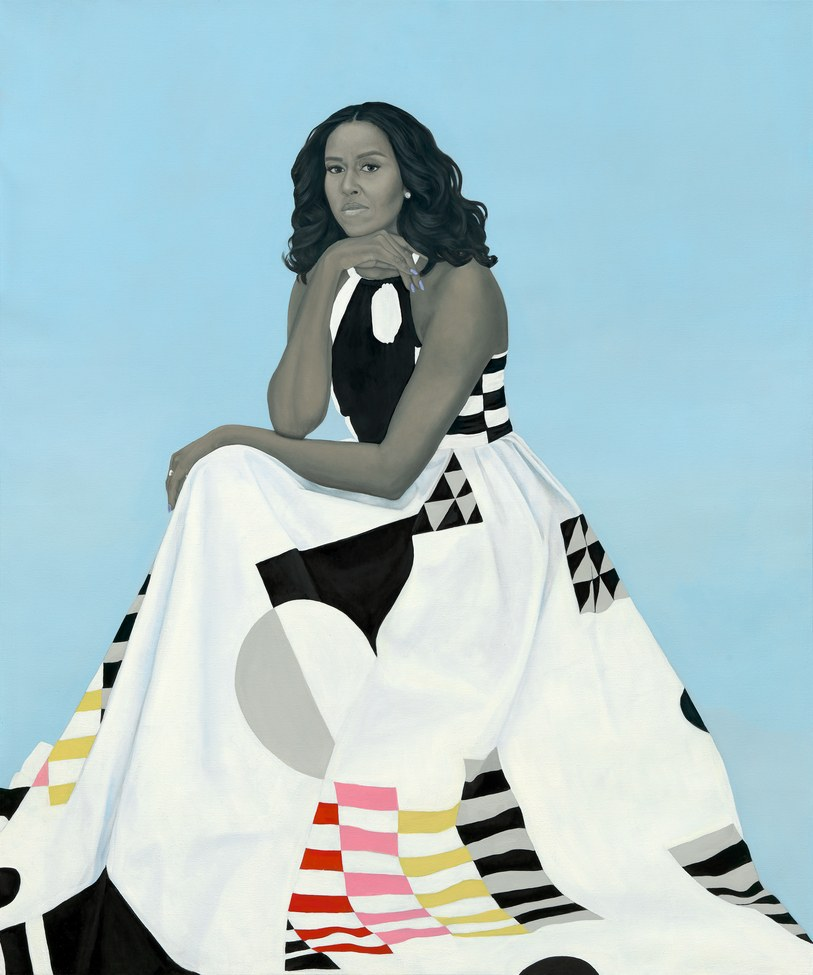 "Michelle's complexion is captured in radical en grisaille tones...""the racializing schéma of her work is to exclude the idea of color or race"" - Amy Sherald"
