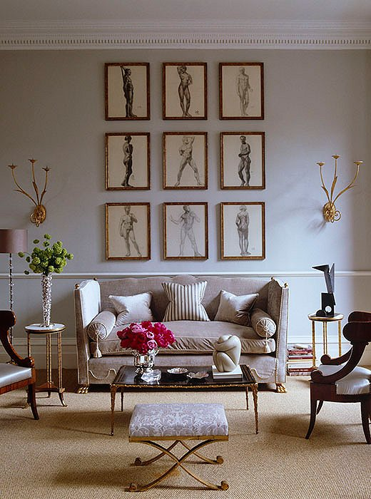 Photo by Simon Upton; interior by Alex Papachristidis   You can't go wrong with the salon-style layout of classic nude drawings, using the same frame and matting for a consistent look