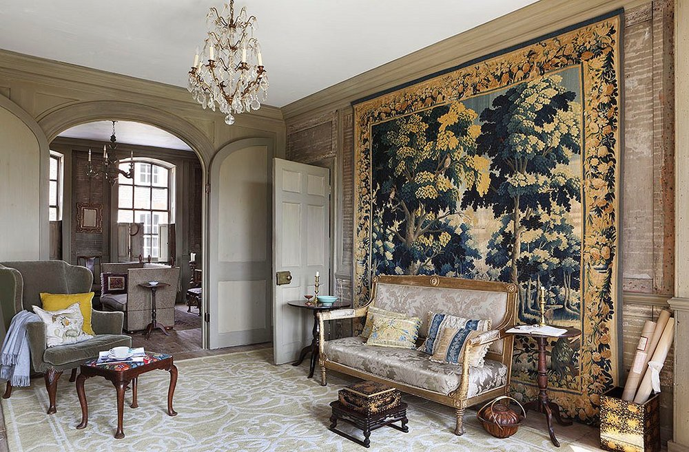 Photo by Alexander James / The Interior Archive   For the room with the ceiling height to accommodate it, an oversized tapestry or textile adds European-style country house luxury and sophistication