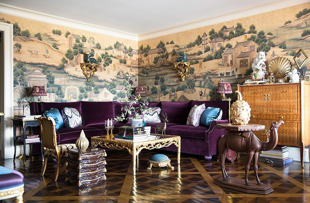 Photo by Lesley Unruh; interior by Alex Papachristidis  I love custom wall treatments and even in this sumptuous livingroom the mural manages to steal the show!