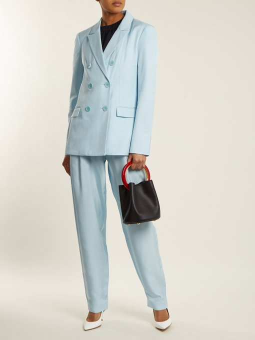 Tibi Steward double breasted pantsuit  - love the suit, the white pumps not so much