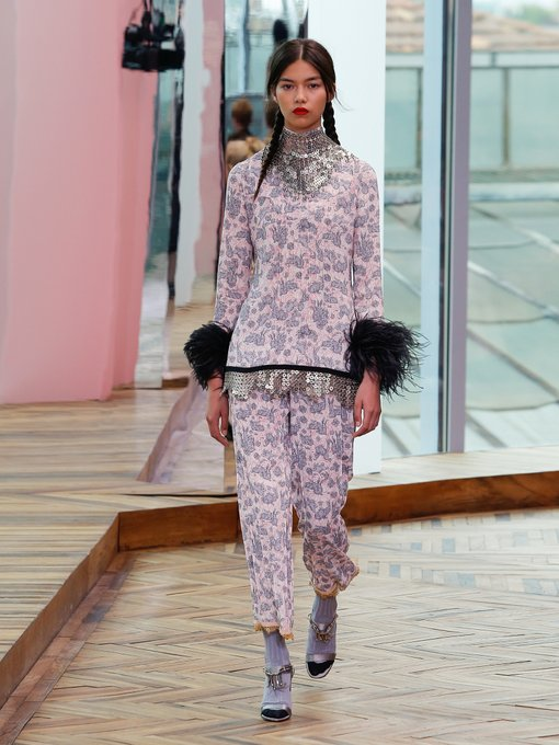 Prada sable rabbit print stretch pants and top  - an inspired twist on the more traditional pantsuit look