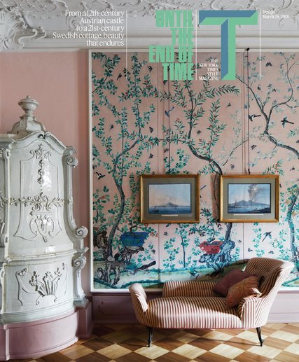 T Magazine article in full  -  a guest bedroom at Schloss Hollenegg -  photography Simon Watson